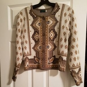 Brown & White  Cardigan Buttoned Sweater